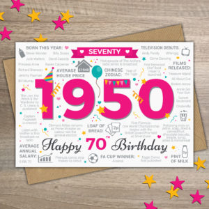 1950 70th Female Seventy Happy Birthday Year of Birth Facts Card