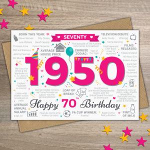 1950 70th Female Seventy Happy Birthday Year of Birth Facts Card