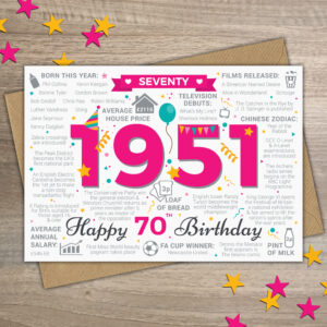 Happy 70th Birthday Year of Birth 1951 Memories Card For Her Ladies Womens Female Friend