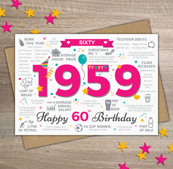 Womans 1959 60th Birthday Card