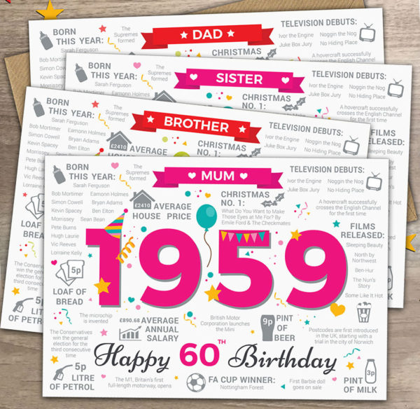 1959 Milestone Birthday cards