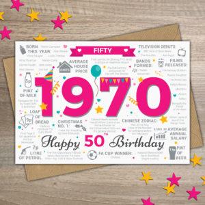 1970 Happy 50th Birthday Card Female / Womens / Ladies