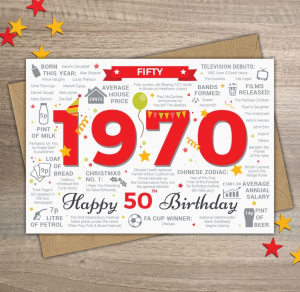 1970 Happy 50th Birthday Card Male / Mens