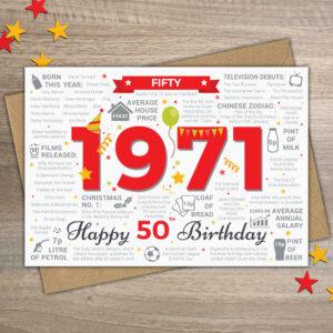 Happy 50th Birthday Card Birth Year Factual Card 1971 Male Friend / For Him