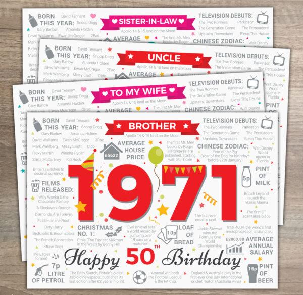 1971 Happy 50th Birthday Variations Fact Card