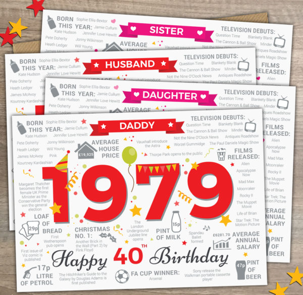 1979 40th Daddy Sister Husband Daughter Options Memories Greetings Cards