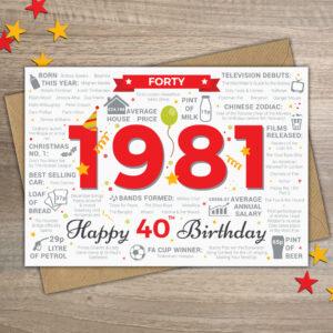 1981 Happy 40th Birthday Fact Card For Male Men Man Him Friend