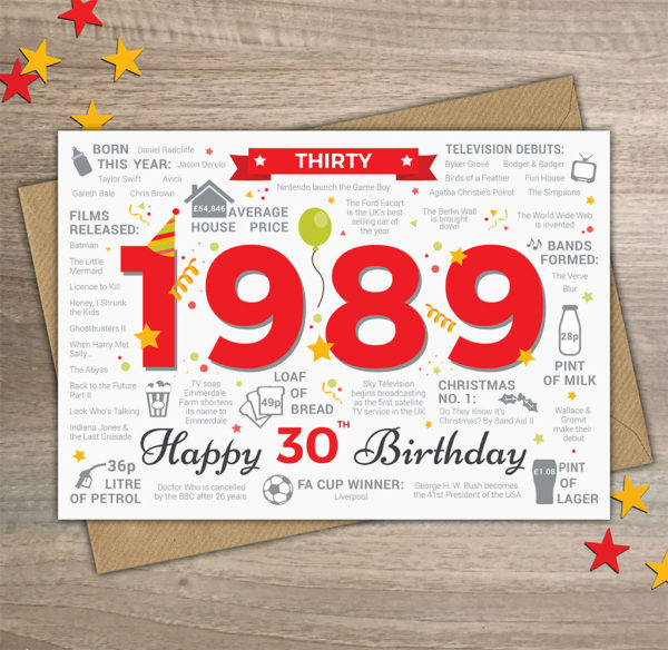 30th birthday card - 1989