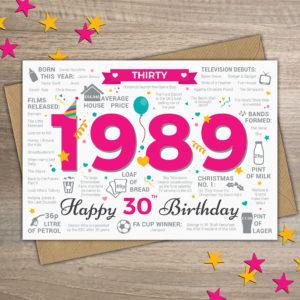 1989 Female 30th birthday