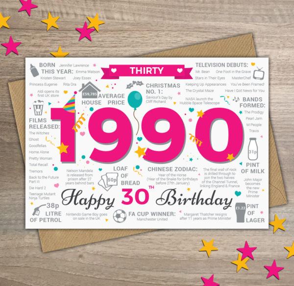 1990 Happy 30th Birthday Womens Thirty Greetings Card Memories Birth Year