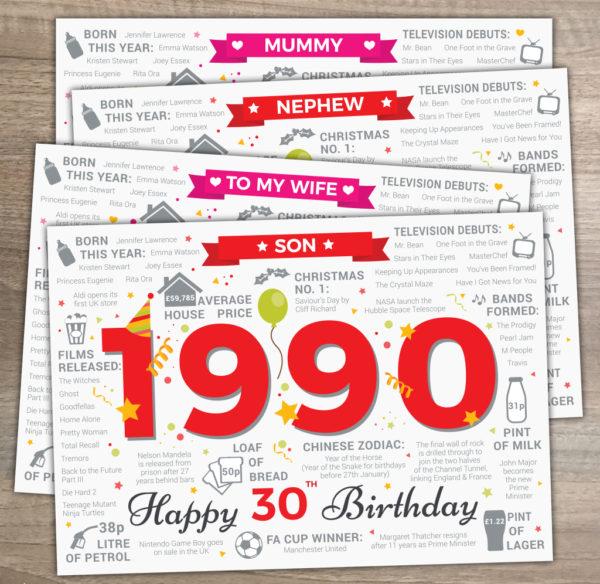 1990 Happy 30th Birthday Variations Fact Milestone Cards
