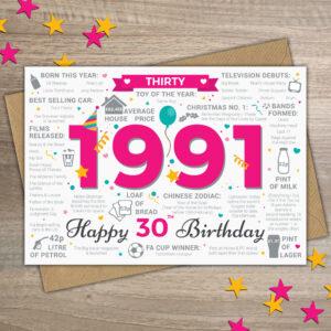 1991 30th Birthday Year You Were Born Memories Female Card