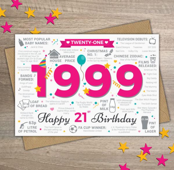 1999 Female 21st Birthday Factual Greetings Card Womens Girls Ladies