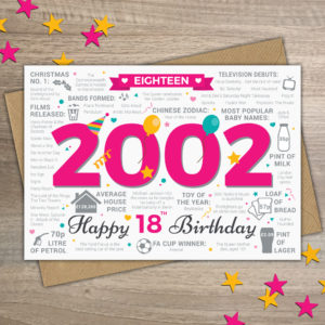 2002 Happy 18th Birthday Womens Year of Birth Facts Card