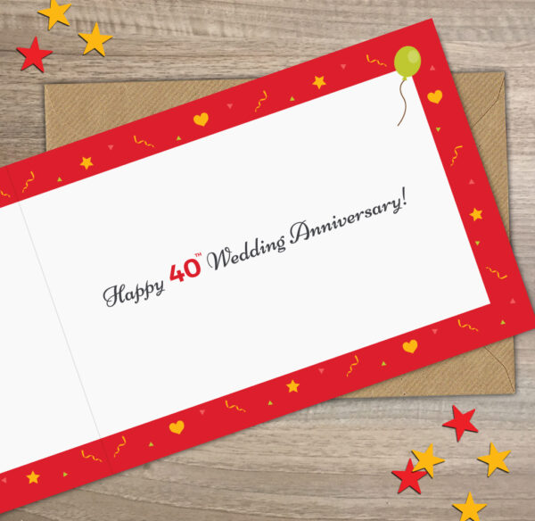 1981 Ruby Wedding Year of Marriage Anniversary Facts Card Inside View