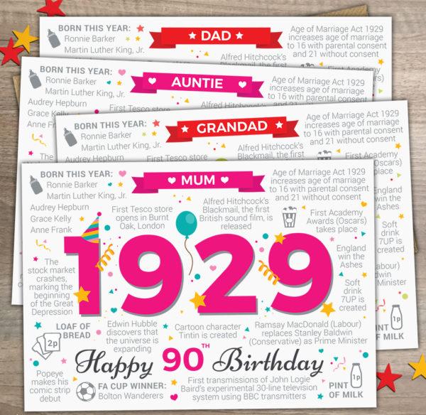 90th Birthday 1929 Mum Grandad Auntie Dad Options Year of Birth Facts Card