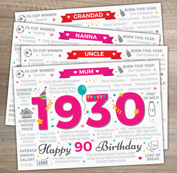 90th Birthday Born in 1930 Fact Memories Card Variations