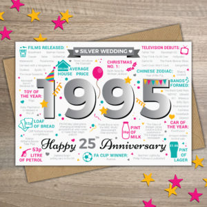 25 Years Anniversary Greetings Card Year of Marriage 1995 Facts