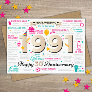 1991 Happy 30th Pearl Wedding Anniversary Year of Marriage Facts Card