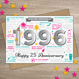 25 Years Anniversary Greetings Card Year of Marriage 1996 Facts